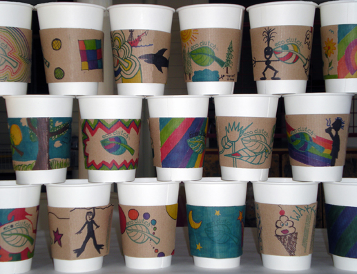 Social Practice Hand Decorated Coffee Cup Sleeves