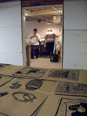 Social Practice Printmaking Paper Grocery Bags NEFA