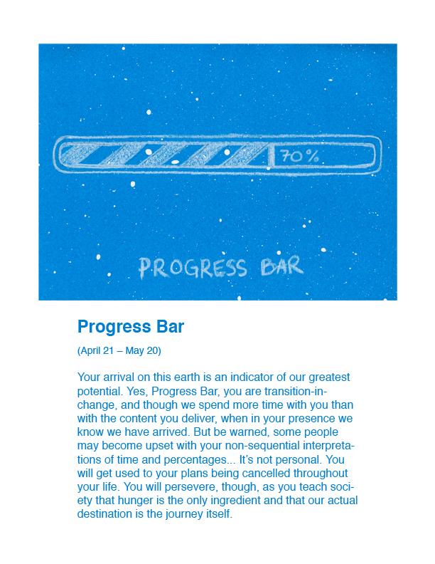 Horoscope Progress Bar Humor Art AstroExplorer Adam Blue