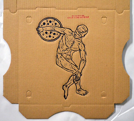 Social Practice Printmaking Pizza Boxes