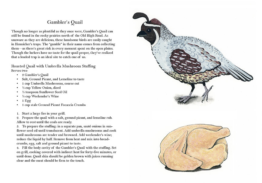 Cookbook Recipe Quail Dystopia Illustration Adam Blue
