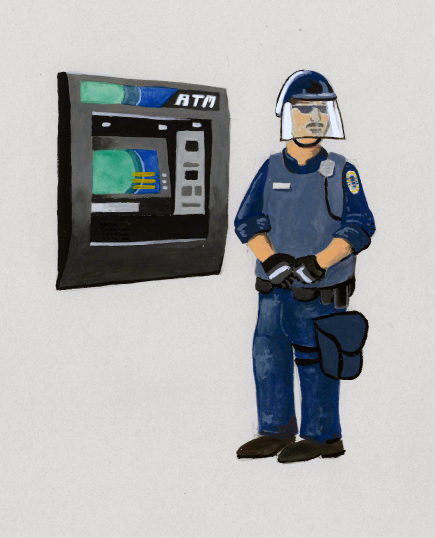cop atm adam blue gouache drawing