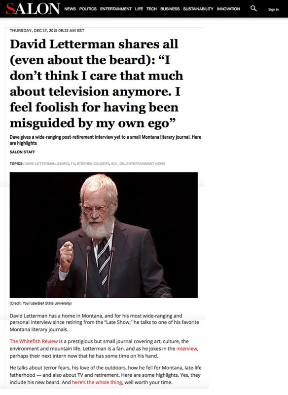 Salon Covering Whitefish Review Letterman