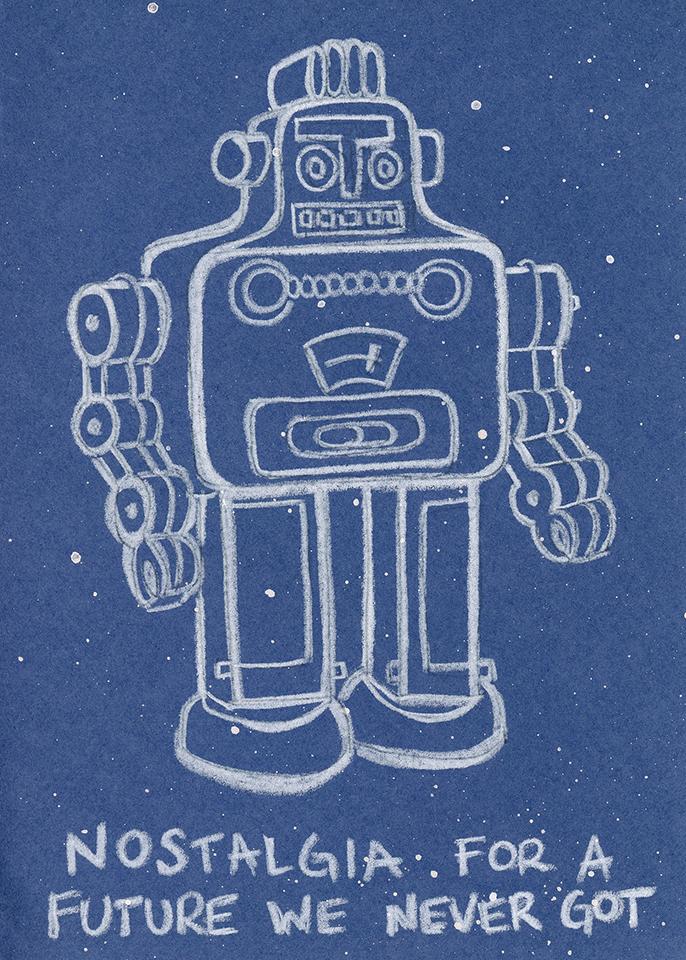 Constellation Robot Future Illustration Humor AstroExplorer Adam Blue