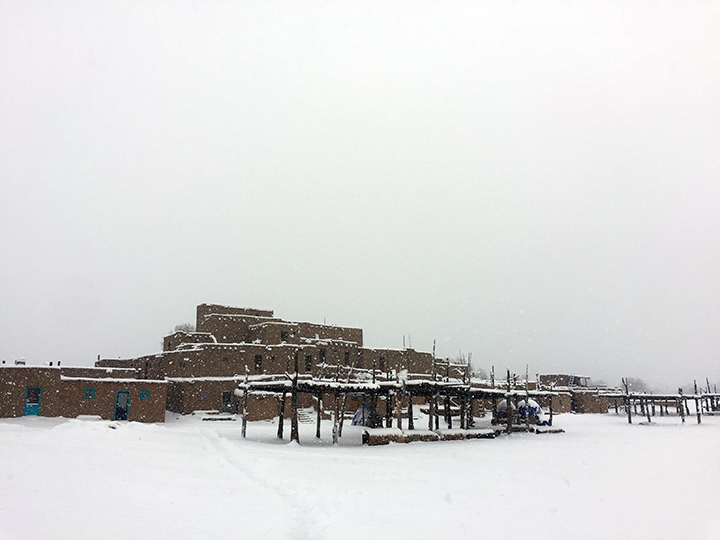 Blue Taos Pueblo Snow 2019 Web